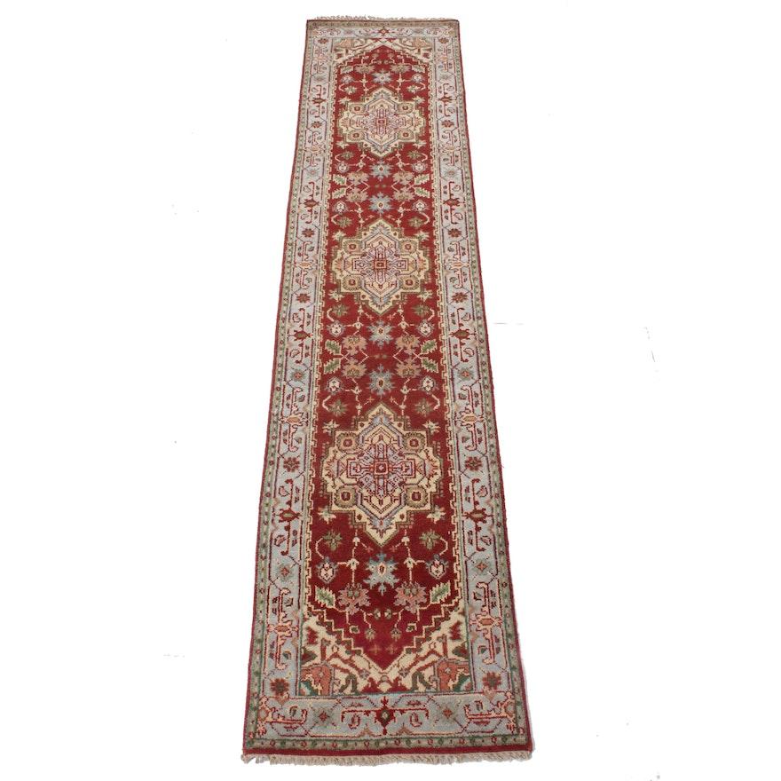 2'4 x 11'7 Hand-Knotted Indo-Persian Heriz Serapi Rug