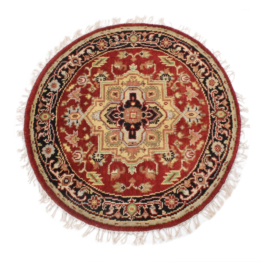 3'4 x 3'4 Hand-Knotted Indo-Persian Heriz Round Rug