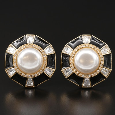Vintage St. John Pearl and Rhinestone Clip-On Button Earrings