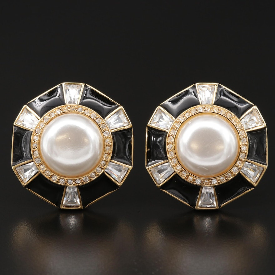 Vintage St. John Imitation Pearl and Rhinestone Clip-On Button Earrings
