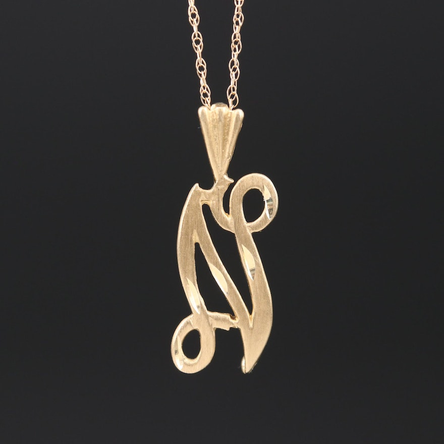 "14K Yellow Gold Cursive ""N"" Pendant Necklace"