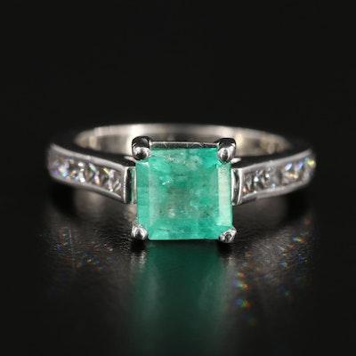 Platinum 1.97 CT Emerald and Diamond Ring