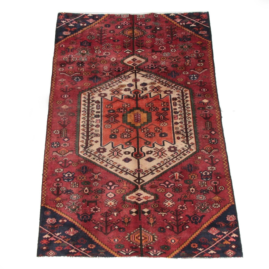 4'11 x 7'10 Hand-Knotted Persian Qashqai Wool Rug