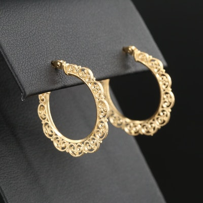 14K Yellow Gold Ornate Hoop Earrings