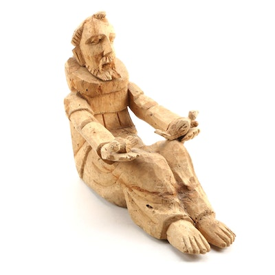 Hand Carved Wood Sculpture Depicting St. Francis of Assisi