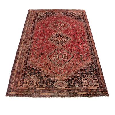 6'7 x 10'3 Hand-Knotted Persian Qashqai Shiraz Rug, 1940s