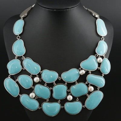 Sterling Silver Bib Necklace with Pearl Accents