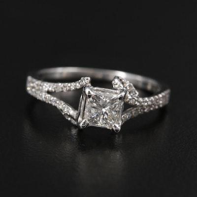 18K White Gold Pave Split Shank Diamond Ring
