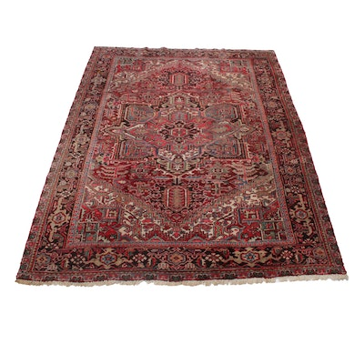 7'10 x 10'2 Hand-Knotted Persian Heriz Rug, 1940s