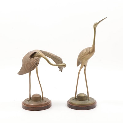 Pair of Brass and Copper Egret Bird Sculptures, Mid-20th Century