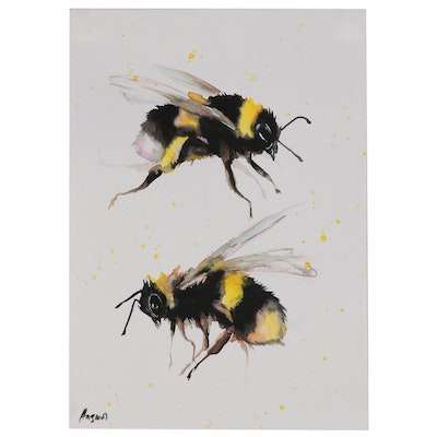Anne Gorywine Watercolor Painting of Bees