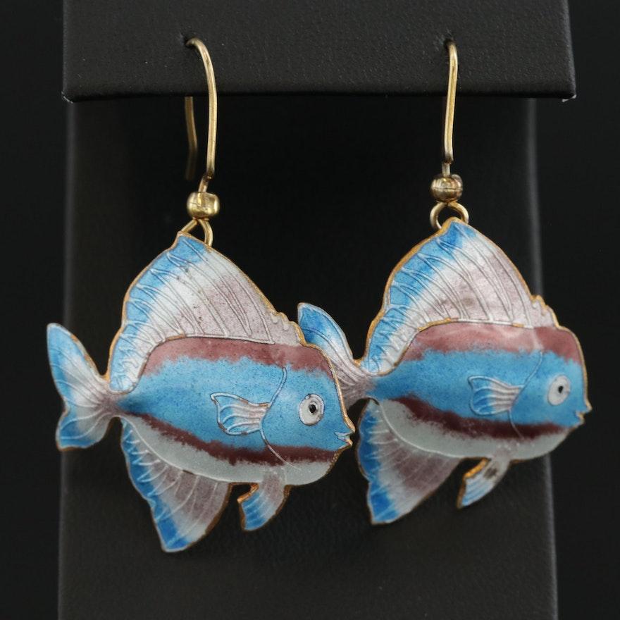 Sterling Silver Enamel Tropical Fish Motif Earrings