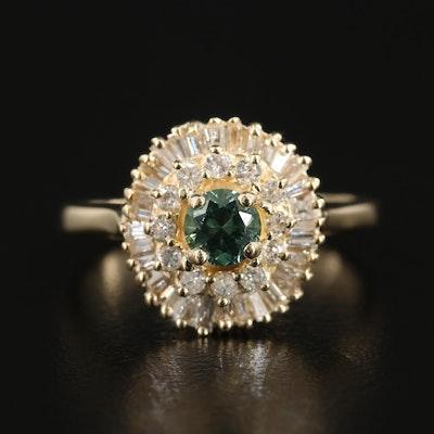 14K Yellow Gold Alexandrite and Diamond Tiered Ring
