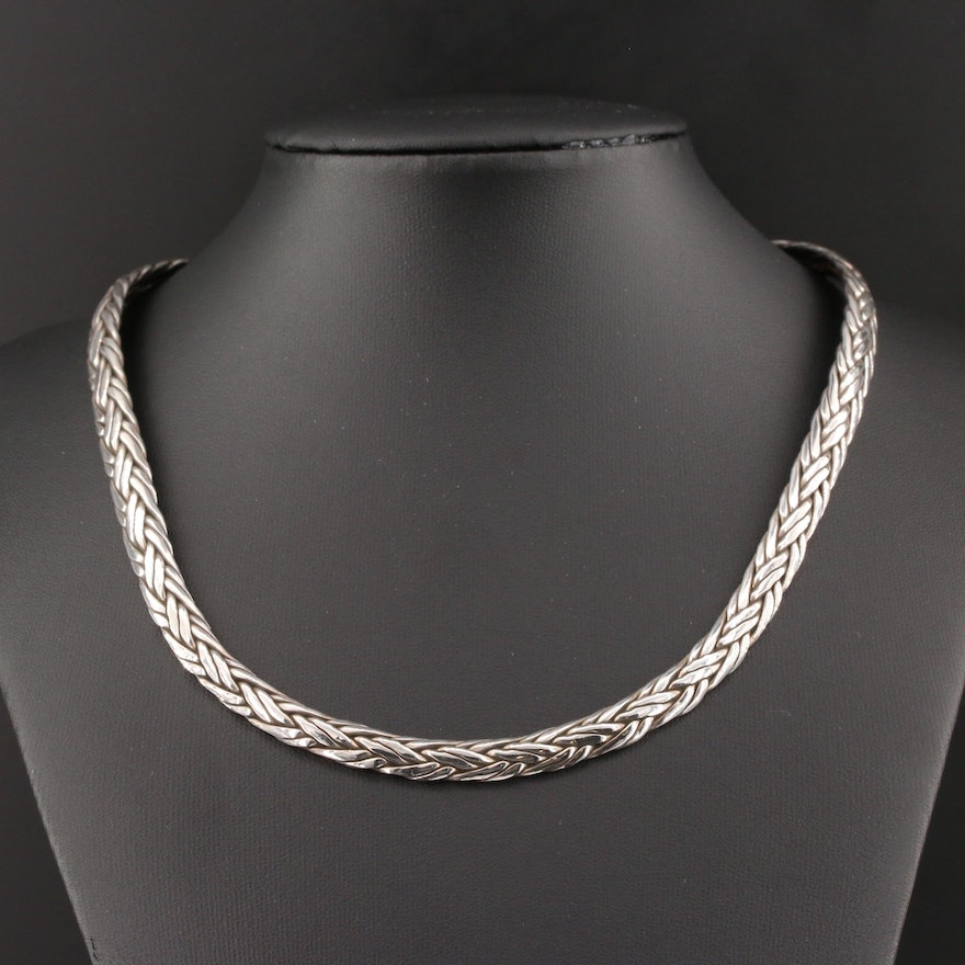 Mexican Sterling Silver Braided Stiff Collar Necklace