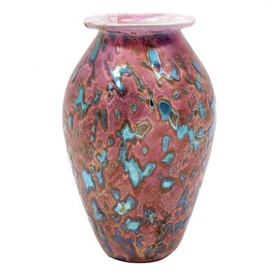 """Robert Eickholt """"Tide Pool"""" Hand Blown Art Glass Vase"""