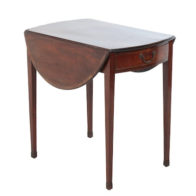 Sheraton Style Mahogany Drop Leaf End Table, Early 20th Century