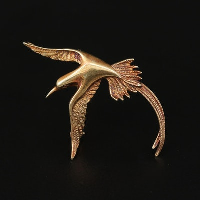 14K Yellow Gold Flying Bird Converter Brooch
