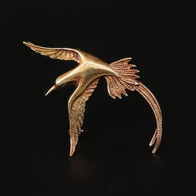14K Yellow Gold Flying Bird Converter Brooch
