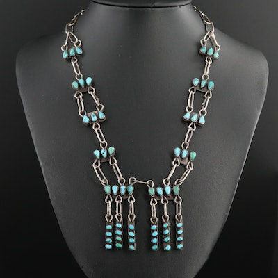 Vintage Southwestern Style Sterling Turquoise Necklace