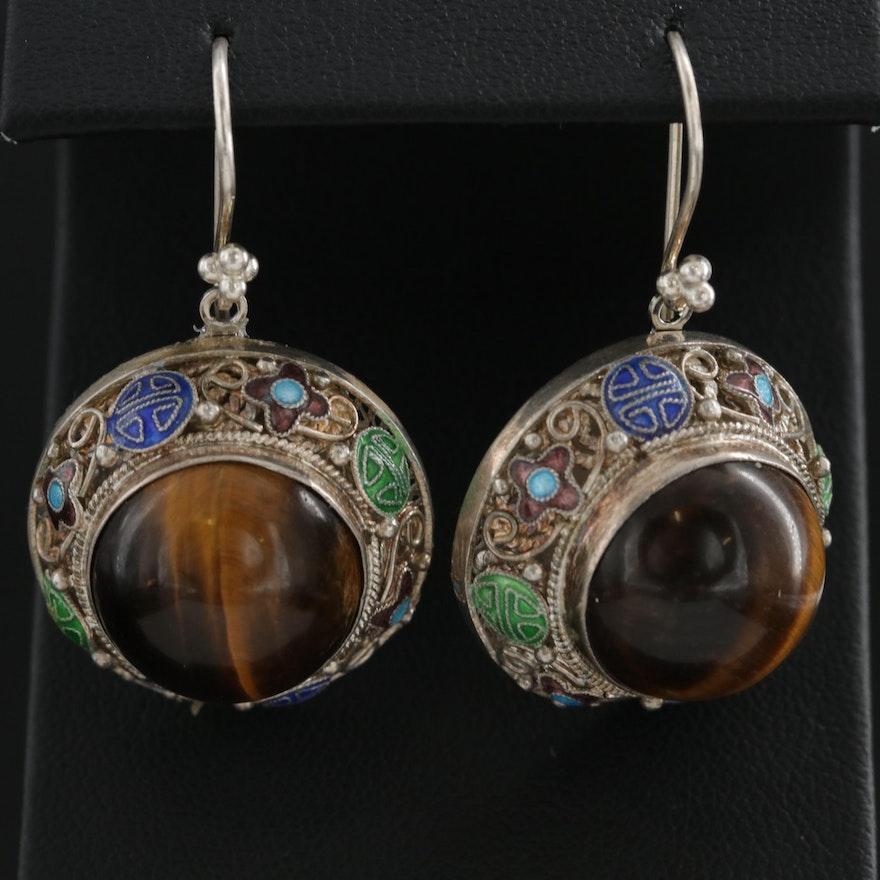 Sterling Silver Tiger's Eye and Enamel Earrings