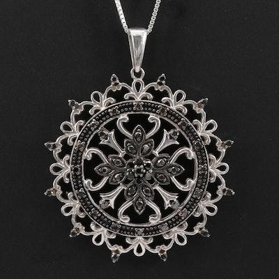 Sterling Silver Black Diamond Floral Pendant Necklace