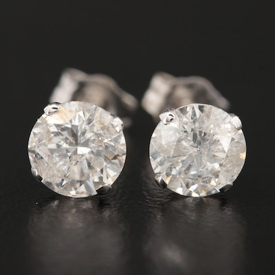 14K White Gold 2.12 CTW Diamond Stud Earrings