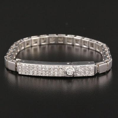 Karisma 14K White Gold Link Bracelet with 18K Pavé Diamond Deployment Clasp