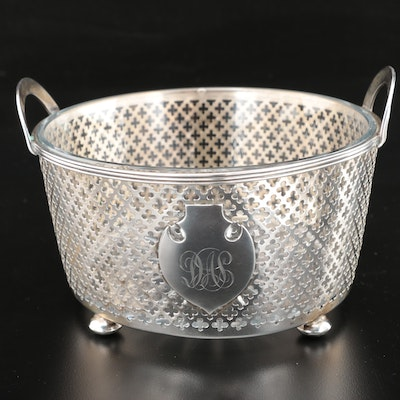Watson Company Sterling Silver Serving Dish with Cut Glass Insert