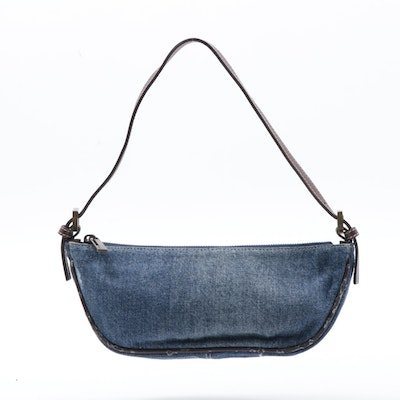 Fendi Denim Baguette with Leather Trim