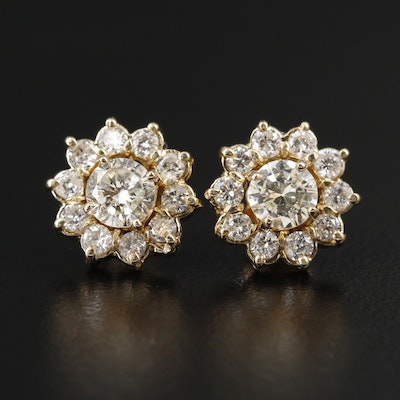 14K Yellow Gold 1.35 CTW Diamond Stud Earrings with Jackets