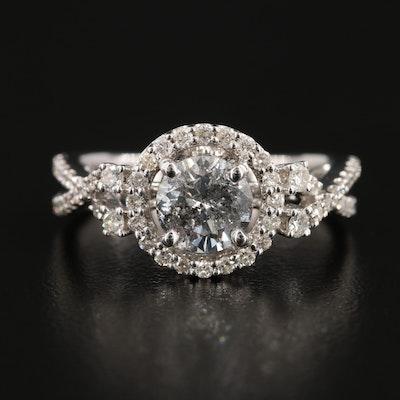 14K White Gold 1.65 CTW Diamond Ring