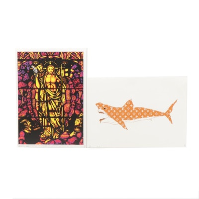 "Death NYC Offset Lithographs ""Louis Vuitton Shark Orange"" and ""So Be It"""