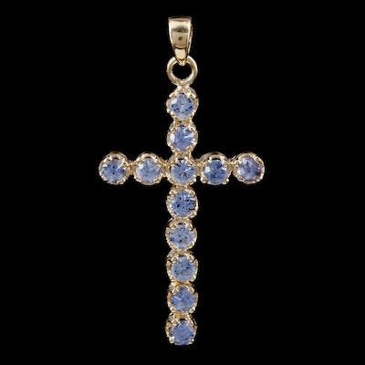 14K Yellow Gold Sapphire Cross Pendant