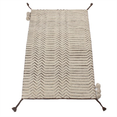 3'2 x 5' Hand-Knotted Indo-Moroccan Rug, 2010s
