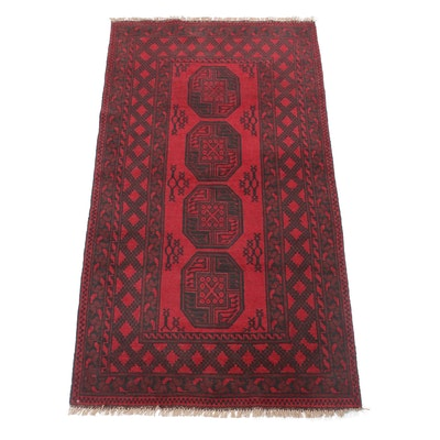 3'5 x 6'10 Hand-Knotted Afghani Turkoman Rug, 2000s