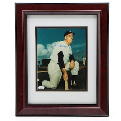 Joe DiMaggio Signed New York Yankees Matted and Framed Photo Print, JSA COA