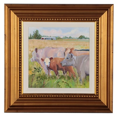 Acrylic Painting of Cows in Pasture