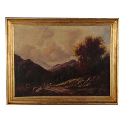 Paul Wesley Oil Painting of Hudson River School Style Landscape