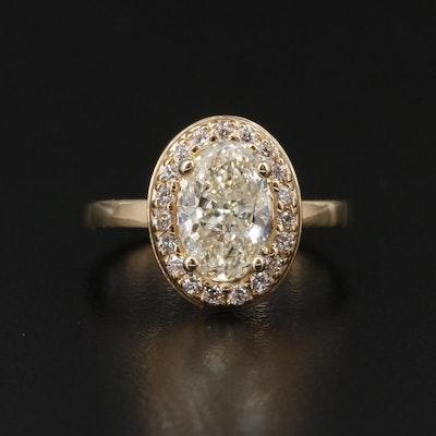 14K Yellow Gold 1.52 CTW Diamond Halo Ring