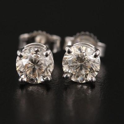 14K White Gold 1.14 CTW Diamond Solitaire Stud Earrings