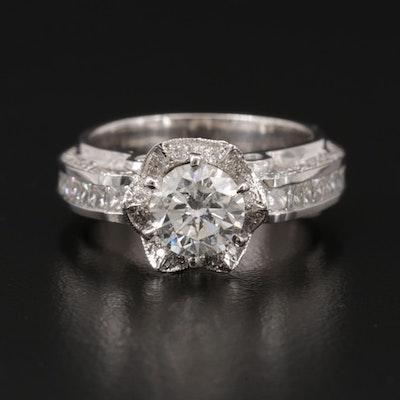 14K White Gold 3.08 CTW Diamond Ring