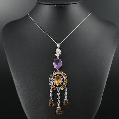 18K Gold Amethyst, Citrine, Fancy Sapphire and 1.05 CTW Diamond Pendant Necklace
