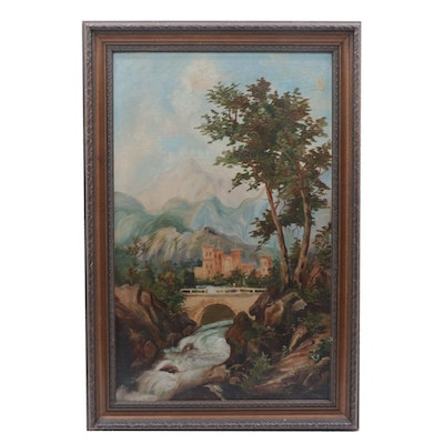 Continental Style Landscape Oil Painting, 1893