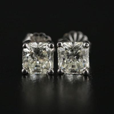 14K White Gold 2.20 CTW Diamond Stud Earrings