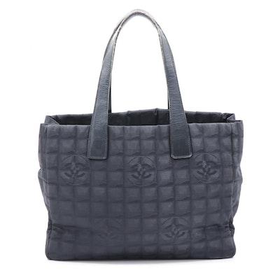 Chanel Travel Line Tonal Black Jacquard Nylon Tote Bag