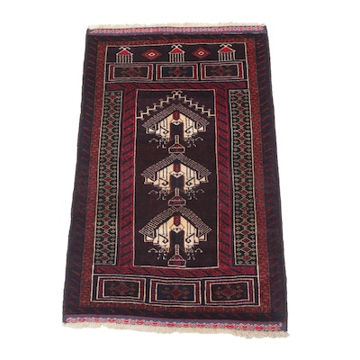 2'8 x 4'8 Hand-Knotted Persian Baluch Rug, 1980s