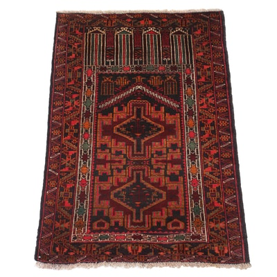 2'10 x 4'5 Hand-Knotted Persian Baluch Rug, 1980s