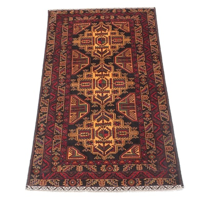 3'8 x 6'4 Hand-Knotted Persian Baluch Rug, 2000s