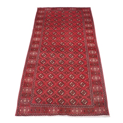 4'11 x 9'9 Hand-Knotted Persian Turkoman Rug, 1960s