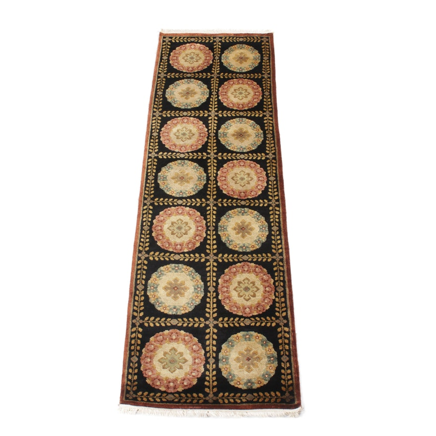 2'6 x 8'2 Hand-Knotted Indo-French Savonnerie Runner Rug, 2000s